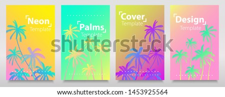 Neon lights gradient effects collection of backgrounds with neon palms. Trendy bright neon colors layout, flyers, banners, poster. #1453925564