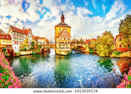 Germany, old UNESCO town Bamberg in northern Bavaria, laid out over 7 hills where the Regnitz and Main rivers meet. Its old town preserves structures from the 11-19 centuries. Autumn romantic view. #1453939574