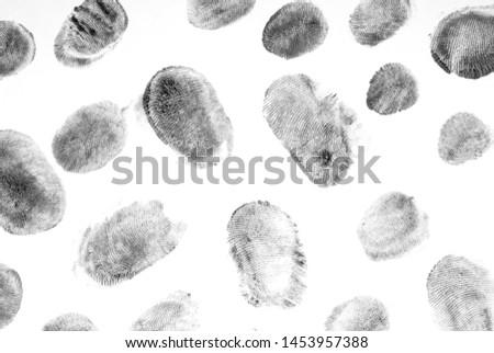 Fingerprints.Background with fingerprints.Black fingerprint on white background. #1453957388