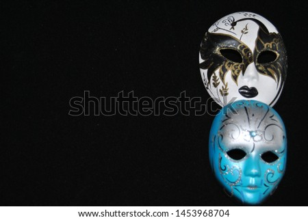venetian mask volto white and blue #1453968704