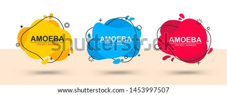 Set of trendy abstract banners. Vector banners in the style of memphis. Template ready for use in web or print design #1453997507