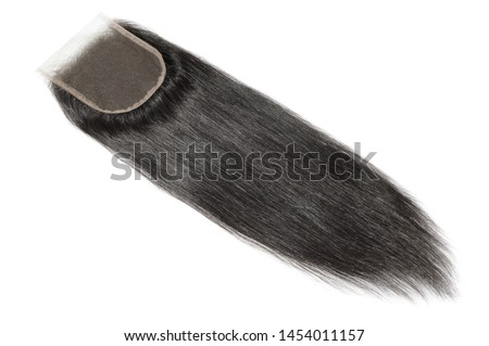straight black human hair weaves extensions lace closure Royalty-Free Stock Photo #1454011157