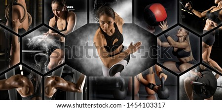 Sport collage. Muscular young female athlete. Woman exercising at the gym. Concept of fitness, motion, sport, bodybuilding, weight loss. Royalty-Free Stock Photo #1454103317