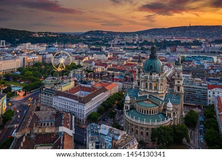 Budapest, Hungary - Aerial skyline view of Budapest at sunset with St.Stephen's Basilica. and ferris wheel at background at the downtown of Pest #1454130341