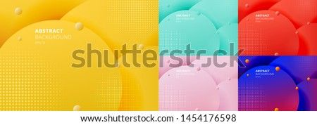 Set of abstract 3D liquid fluid circles yellow mustard, green mint, red, blue color beautiful background with halftone texture. Vector illustration #1454176598