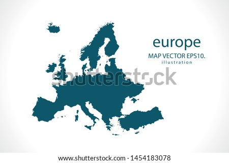 europe map High Detailed on white background. Abstract design vector illustration eps 10 #1454183078