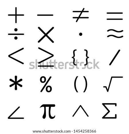 Math icon vector set. mathematical calculations symbol illustration collection. #1454258366