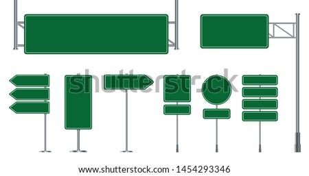 Set of road signs isolated on a white background. Green traffic signs. Royalty-Free Stock Photo #1454293346