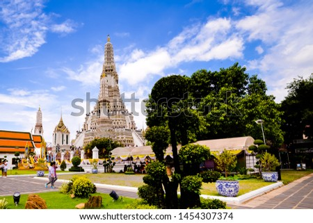 Bangkok,Thailand - July,17,2019 :Pagoda at Wat Arun temple, One of the famous temple in Thailand , This temple has many foreign visitors visiting each day, Bangkok , Thailand. #1454307374