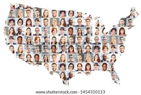 Portrait collage of business people on map of the USA as a business concept #1454310113