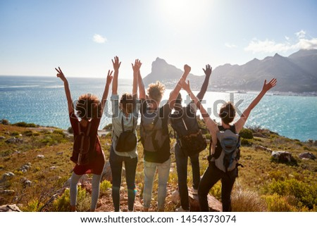 Millennial friends on a hiking trip celebrate reaching the summit and admire the view, back view #1454373074