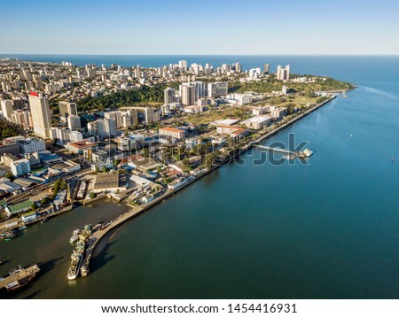 Aerial view of Maputo, capital city of Mozambique, Africa #1454416931