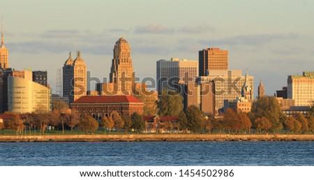 The Buffalo, New York skyline across Niagara River