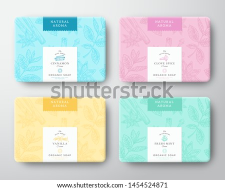 Cinnamon, Clove, Mint and Vanilla Soap Cardboard Boxes Set. Abstract Vector Wrapped Paper Container with Label Cover. Packaging Design. Hand Drawn Spices Background Pattern Layout. Isolated. Royalty-Free Stock Photo #1454524871