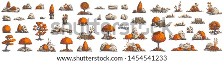 Big set of hand-drawn stylish illustrations of trees, bushes, cameos, grass for landscape design. Isolated on white background. Vector.  #1454541233