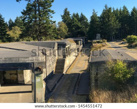 Landscape of old abandoned navy fort at Fort Worden State Park in Washington State #1454551472