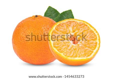 Mandarin, tangerine citrus fruit white isolated on white background. full depth of field #1454633273