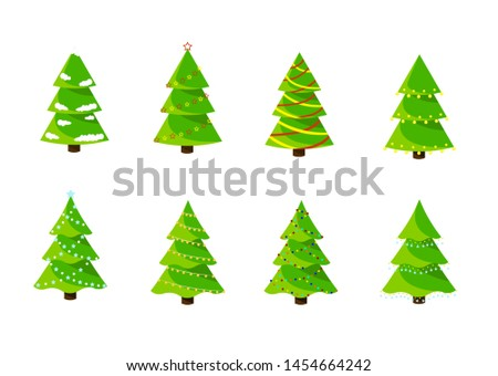 Christmas trees set isolated on white background. Vector #1454664242