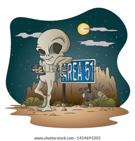 Grey Alien leaning on Area 51 sign Royalty-Free Stock Photo #1454691005