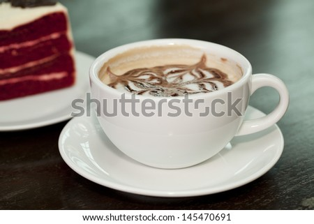 Cappuccino cup coffee with red berry cheesecake #145470691