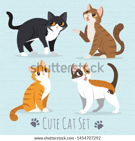 Set of cute cartoon cats on a blue background-illustration