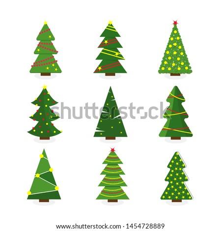 Set of colorful cartoon Christmas tree. Modern different flat design. illustration. #1454728889
