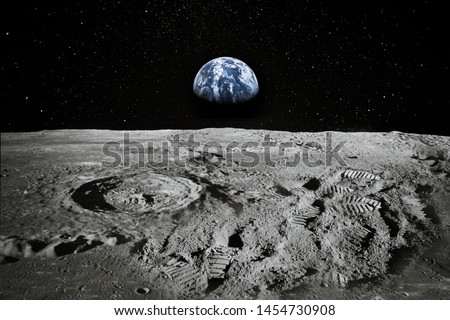 View of Moon limb with Earth rising on the horizon. Footprints as an evidence of people being there or great forgery. Collage. Elements of this image furnished by NASA. #1454730908