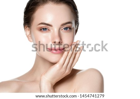 Beautiful woman skin care concept face beuty close up healthy clean skin #1454741279