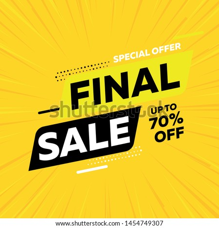 Special offer final sale banner on yellow background, up to 70% off. Vector illustration. #1454749307
