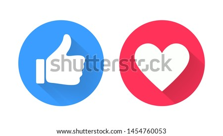 Thumb up and heart icon. Vector like and love icon. Ready like and love button for website and mobile app. Royalty-Free Stock Photo #1454760053