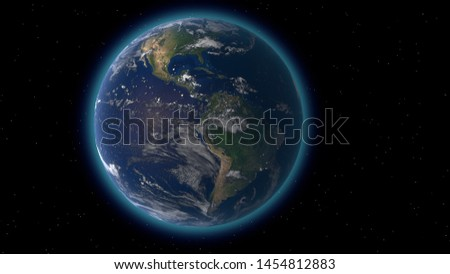 Flying over the earth's surface, 3D rendering. #1454812883