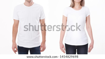 T-shirt design fashion concept, closeup of woman and man in blank white t-shirt, shirt front isolated. Mock up for sublimation. #1454829698