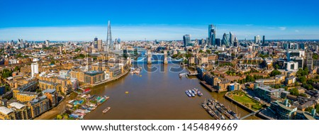 Elevated view of the Financial District of London near the Tower Bridge across river Thames. London. England. #1454849669