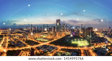 Smart city and wireless communication network concept. Digital network connection lines of Hanoi city #1454995766