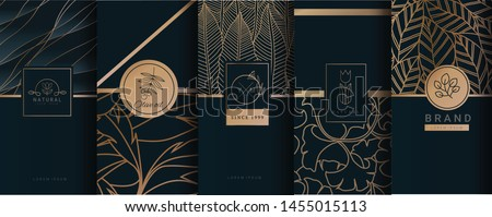 Collection of design elements,labels,icon,frames, for logo,packaging,design of luxury products.for perfume,soap,wine, lotion.Made with Isolated on black background.vector illustration Royalty-Free Stock Photo #1455015113