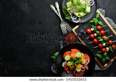 Assortment of dishes of European cuisine. Background food. Top view. Free space for your text. #1455033653