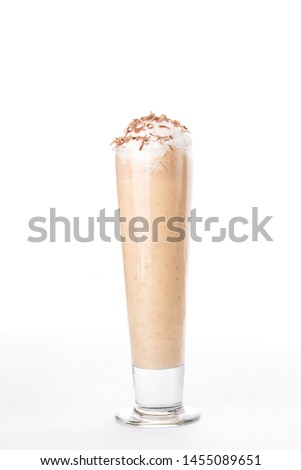 milkshake with whipped cream in a tall glass Isolated on white background side view #1455089651