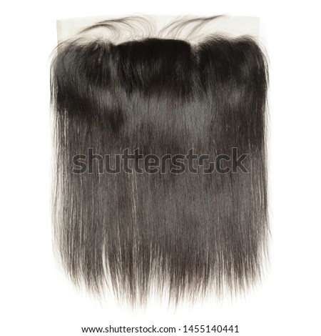 straight black human hair weaves extensions lace closure frontal Royalty-Free Stock Photo #1455140441