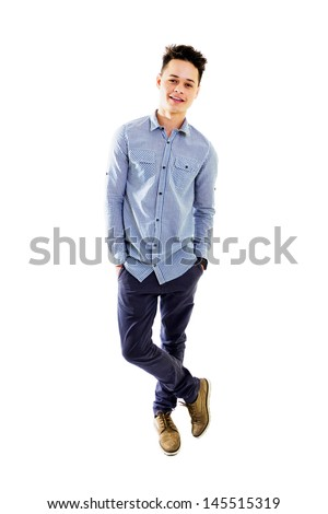 Handsome smiling young boy, isolated on white background, full lenght. #145515319