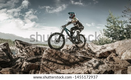 Cyclist in action on a beautiful location #1455172937