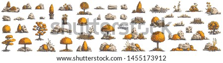 Big set of hand-drawn stylish illustrations of trees, bushes, cameos, grass for landscape design. Isolated on white background. Vector.  #1455173912