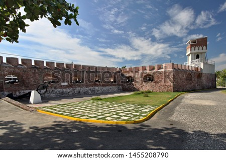 View of Fort Charles Fortress in Port Royal City. Jamaica. Royalty-Free Stock Photo #1455208790