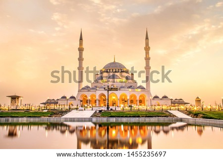 Sharjah Mosque second biggest mosque in United Arab Emirates beautiful traditional Islamic architecture new famous tourist attraction in Middle east, Travel and tourism Concept image #1455235697