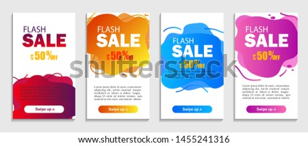 Set of abstract liquid shapes on isolated background. Sale design covers for website, retail or business. Flash offer sale template for social media.vector eps10 #1455241316