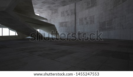 Abstract architectural brown and beige concrete interior of a minimalist house. 3D illustration and rendering #1455247553