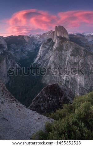 Half Dome and Yosemite Valley in Yosemite National Park during colorful sunrise with trees and rocks. California, USA Sunny day in the most popular viewpoint in Yosemite Beautiful landscape background #1455352523