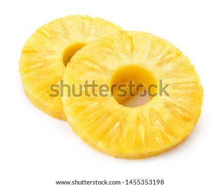 Pineapple ring. Pineapple slice isolated. Canned pineapple circle on white background. #1455353198