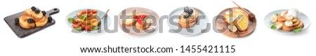 Tasty French toasts with berries and fruits on white background #1455421115