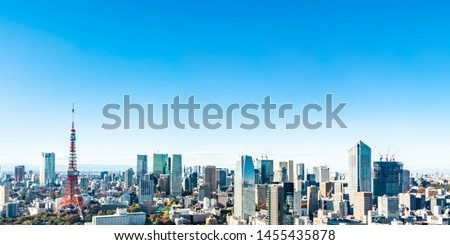 Tokyo cityscape - modern aerial view with Roppongi and Minato wards. #1455435878