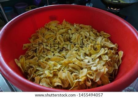 Tuaran Sabah Malaysia - July 19, 2019 : Banana chips made by local traders.                                #1455494057